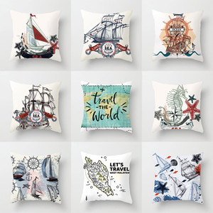 Wholesale Sailling Boat Travel the World Ocean Fish Cushion Covers Vintage Style World Map Marine Starfish LOVE Ocean Pillow Cases X44cm
