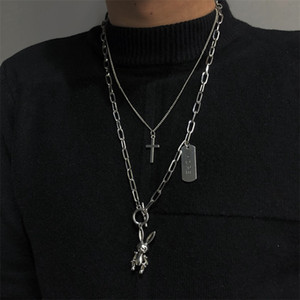 Wholesale mobile link for sale - Group buy Instagram Multi layer Hip Hop Women s Fashion Cross Necklace Can Be Mobile Rabbit Necklace Pendant Trend Personality Sweater Chain