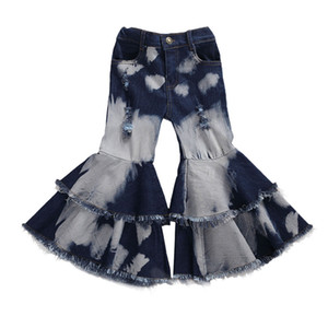 2020 Baby Clothing Toddler Baby Kids Children Girl Clothes Bell Bottom Pants Flare Denim Jeans Pants Layered Hole Trousers 2-7T