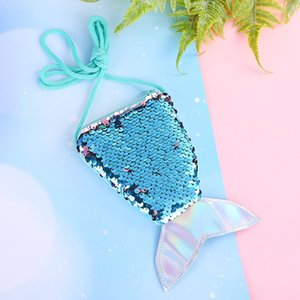 Wholesale Creative children's one shoulder sequins small bag storage lanyard coin purse new mermaid tail diagonal cross package wholesale