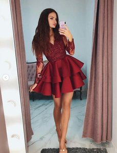 Tiered Ruffles Burgundy Satin Short Prom Dresses 2019 Modest Sheer Long Sleeves Formal Party Gowns Appliques Lace 8th Grade Homecoming Dress on Sale