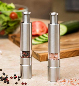 Wholesale stick manual resale online - Manual Pepper Mill Salt Shakers One handed Pepper Grinder Stainless Steel Spice Sauce Grinders Stick Kitchen Tools KKA7730