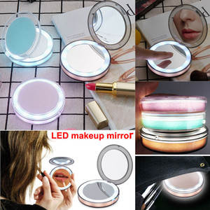Wholesale New Portable LED Makeup Mirror Face X X Magnifying Glasses Makeup Pocket LED mirror vanity Cosmetic USB charging Lighted Edge