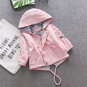 BibiCola girls jackets autumn spring kids girl hooded coat flower embroidery children outerwear clothing for little girl outfits SH190907 on Sale