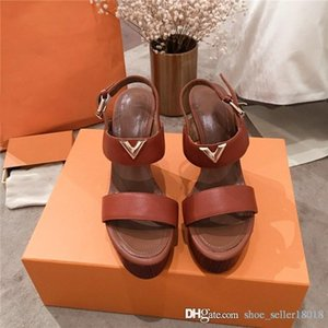 2019 Classic Women Wedge Sandals with Wood Sole, Latest Trend High Heels Platform Shoes Womens Slippers with Box Size 35-40