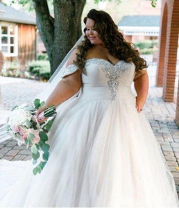 Custom Made Off Shoulder White Wedding Dresses Plus Size 2020 Beaded Crystal Pleated Draped vestidos de novia Bridal Gowns Wedding Dress on Sale