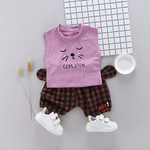 2Pcs Set Summer Baby Boys Sleeveless Cartoon Print Tops Blouse T-shirt+Plaid Shorts Casual Outfits Sets