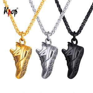 Kpop Sport Shoes Pendant Necklace Jewelry Stainless Steel Gold black Color Resin Running Shoes Necklace For Men P3247 Y19050802