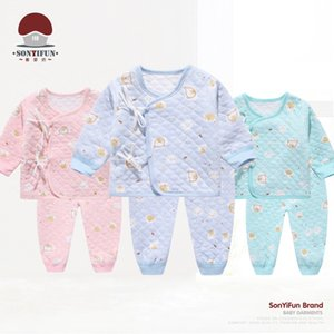 Autumn And Winter Newborn Baby-Cotton Thermal Butterfly Clothing Baby Monk Clothing Xie Jin Lace-up Baby Set