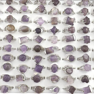 Wholesale Natural Amethyst Stone Rings Gemstone Jewelry Women s Ring Bague Valentine s Day Gift