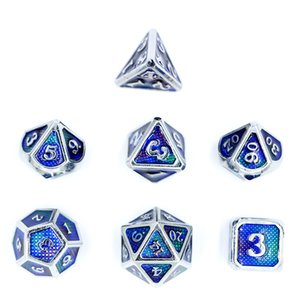 Wholesale Dragon and Dungeon Table Games Multi-sided Metal Solid Dice COC Kesulu Running Group Set Digital Puzzle DND Chrome