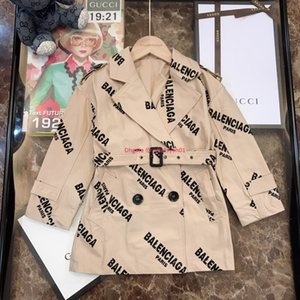 Wholesale Children windbreaker kids designer clothing male and female autumn anti wrinkle fabric cover letter waist design fashion coat