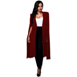 Coats Womens Designer Long Cape Fashion Solid Office Lady Suit Jacket Business Donna V Neck Cardigan