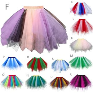 Wholesale Fashion Tulle Skirt Pleated Skirts Womens Lolita Petticoat Bridesmaids Vintage Skirt colorful princess dresses for Adult s25