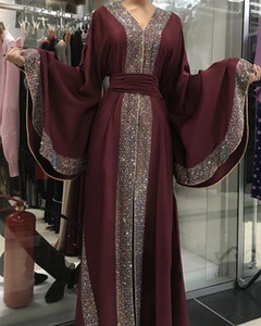 Wholesale Dubai Abayas Evening Dresses Glitter Sequins Open Front Muslim Prom Dresses Long Sleeves Elegant Formal Dresses Evening Wear Fashion 2019