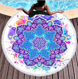 Wholesale towels resale online - 150cm Round Beach Towel Summer Beach Tassel Tapestry Towel for Adults Geometric Flag Swimming Sunbath Large Beach Towels