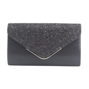Wholesale Women Glittered Envelope Clutch Purse Evening Bag Lustrous Party Handbag Shiny Shoulder Bag
