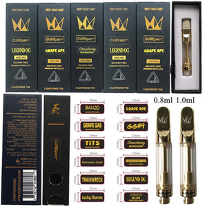 West Coast CUREpen Vape Cartridges Packaging 1ml Ceramic Empty Carts Dab Wax Vaporizer Glass Thick Oil Atomizer 510 Thread E Cigarettes