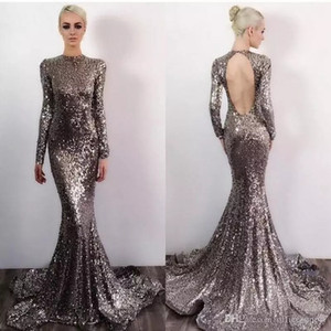 Gray Prom Dresses Long Sleeve Sequin Mermaid Evening Dress 2019 High Neck Open Back Sequined Cocktail Party Gowns Celebrity Formal Gown on Sale