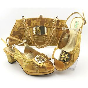 Wholesale italian shoes yellow resale online - Yellow Color Hot Selling Italian New Design Ladies Matching Shoe and Bag Nigerian Women Shoes and Bags Set for Party