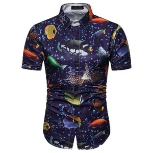 Wholesale 2019 Summer Shirt Men Short Sleeve Blouse D Ocean World Print Short Ladies Beach Shirt Casual Plus Size Mne Cotton Tops