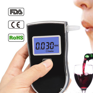 Wholesale AT818 Alcohol Breath Tester Digital Breathalyzer Mini Portable Professional Alcohol Monitor Blue LCD Display Sound Alarm Police Testers