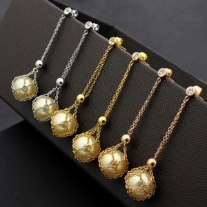 Wholesale 2019 Fashion Hanging net bag pearl stud Earrings Crystal for Women Genuine Jewelry rose gold silver gold love earring Enamel jewelry gift