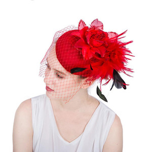 Wholesale British Style Bridal Net Feather Face Veil Sweet Red Birdcage Net Wedding Veil Bridal Fascinator Flower Cotton Mesh Face