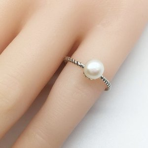 real sterling silver ring 925 Thai silver vintage ring with pearls Ladies jewelry gift finger open ring