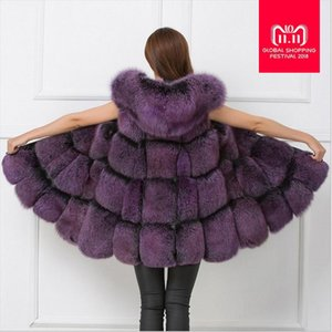 Wholesale Imitation Fox Fur Vest Faux Fur Fox Coat Winter Warm Women patchwork Jacket Hood Outerwear Female Long Waistoats L1085