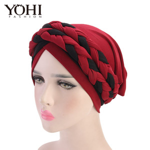 Wholesale New fashion Bohemian twist braid headband hatMuslim chemotherapy cap Women India Hat Beanie Ladies Hair Accessories