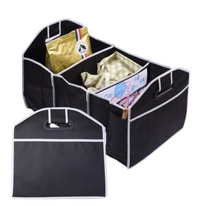 Wholesale Car Trunk Storage Organizer Foldable Container Portable Compartment Storage Bag Basket with Two Handles and Side Pockets