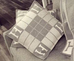 Cashmere Pillow fashion Brand H letter Square stitching pattern original wool sofa Ins pillow cushion wool knitting soft lithe pillowcase