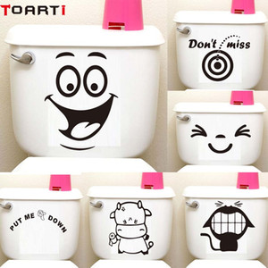 Wholesale Big Smile Face Cartoon Toilet Seat Sticker Diy Wall Stickers Home Decor Wall Art Murals Waterproof Adhesive Funny Washroom Decor