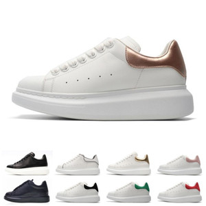 Wholesale 2019 New Alexander Fashion Platform Designer Women Shoes White Casual shoes MC Real Low Cut Leather Mens Outdoor Sports Sneakers