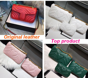 Fashion Love heart Wave Pattern Satchel Designer Shoulder Bag Chain Handbag Luxury Crossbody Lady Tote bags Original Sheepskin Top cowhide on Sale