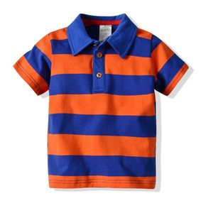 Wholesale Boy Stripe Polo Shirt Summer New Lapel Collar Stripe Short Sleeve Children s Cotton T Shirt Kids Tees