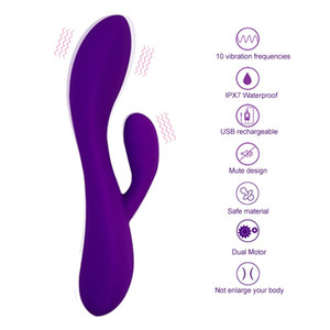 G Spot Rabbit Vibrator Clitoris Stimulator Dual Motors Soft Silicone Massager Vagina Vibrator Sex Toys For Woman Masturbation