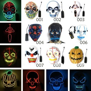 Wholesale Halloween mask LED Scary Masks Skull Masquerade Mask EL Wire Ghost Pumpkin Halloween Dancing Cosplay Party Masks