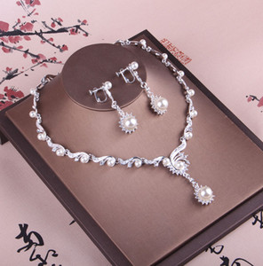 Wholesale Shinning Pearls Bridal Jewelry Pieces Sets Necklace Earrings Bridal Jewelry Bridal Accessories Wedding Jewelry T213015