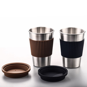 Wholesale Stainless Steel Coffee Mugs Portable Drinking Cups With Silicone Lids Travel Water Coke Cup Wine Tumbler Straight Cup Water Bottle GGA2691