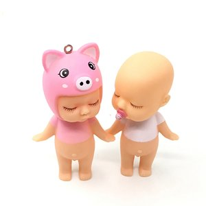 Wholesale Cute Baby Doll Keychain Boy Girl Model Keyring Kids Novelty Desktop Car Decoration Lovely Hangbag Pendant Lovers Gifts