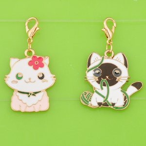 Wholesale DIY metal dangle enamel color kawaii kitten cat charms with clasp pendants for bracelet necklace earring jewelry making charm