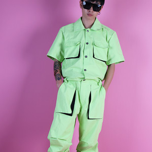 Wholesale 2019 new Men light green fluorescent Leggings jumpsuit set three dimensional bag pants hip hop Mens stage costume trousers M XL