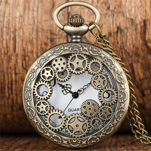 Antique Copper Vintage Hollow Out Gear Wheel Quartz Pocket Watch Steampunk Men Women Watches Timepiece Necklace Chain Clock Gift
