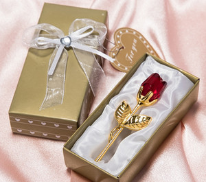 Wholesale Romantic Wedding Gifts Multicolor Crystal Rose Favors With Colorful Box Party Favors Baby Shower Souvenir Ornaments For Guest