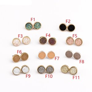 Wholesale Popular Gold Silver Color Druzy Drusy Round Stud Earrings Fashion Faux Stone Resin Druse Earings Brand Jewelry for Women