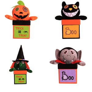 Wholesale Halloween Candy Jar Square Sweets Can Cartoon Pumpkin Gift Box Container Home Holiday Decorations