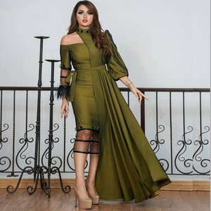 Wholesale Designer Sheath Tea Length Prom Dresses with Three Quarter Sleeve Feather caftan abaya dubai Evening Party Gowns Satin Short Prom Dress
