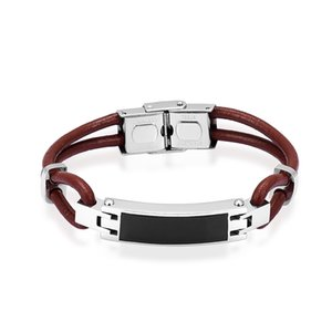 Wholesale IJB5114 Stainless Steel Memorial City Column Leather Bracelet Cremation Ashes Souvenir Urn Bracelet
